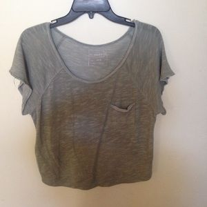 Free People Green T with higher rise back Medium